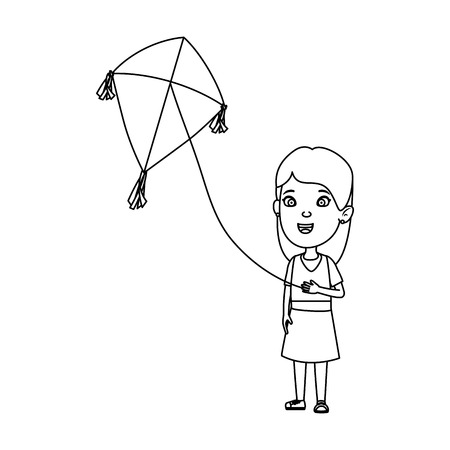 little girl flying kite vector illustration design Illustration