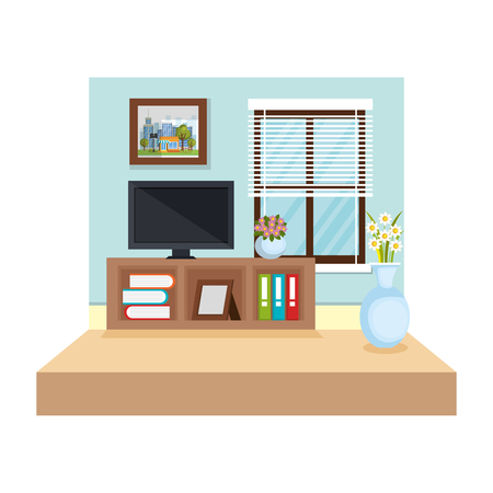 tv room place house vector illustration design