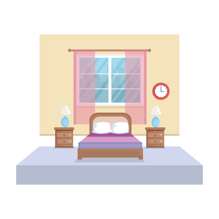 bed room house place vector illustration design