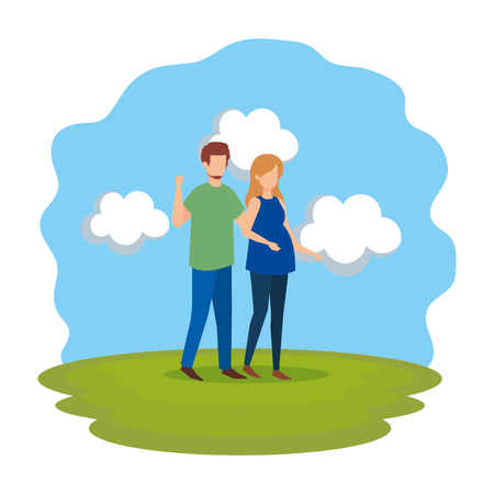 man with woman pregnancy characters vector illustration design Иллюстрация
