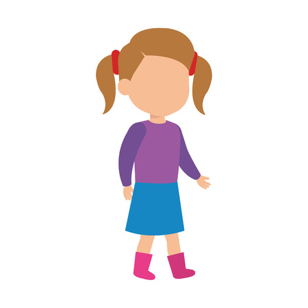 beautiful little girl character vector illustration design 일러스트