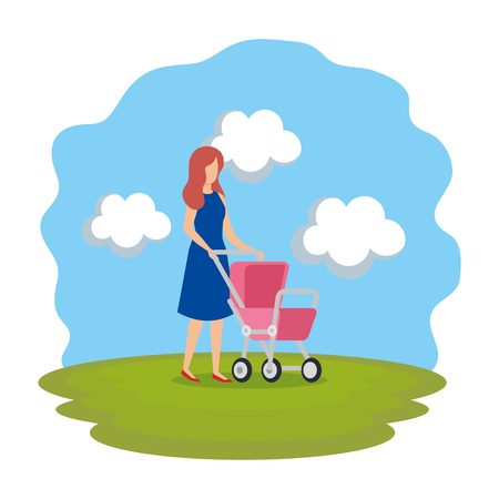 mother with cart baby character vector illustration design
