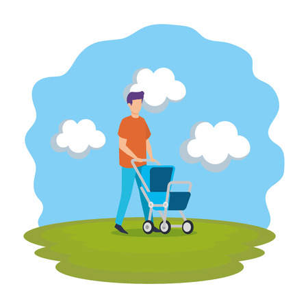 father with cart baby character vector illustration design