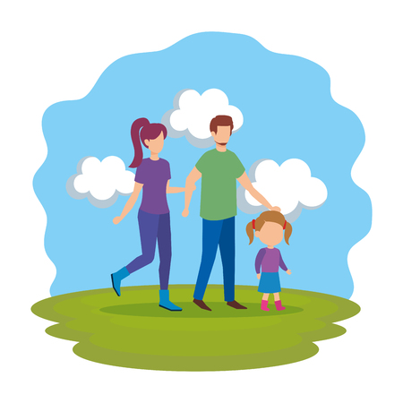 parents couple with daughter in the park vector illustration design Stock Vector - 112240674