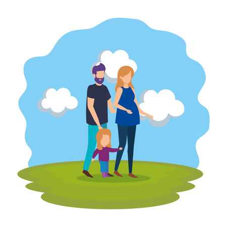 parents couple with daughter in the park vector illustration design Stock Vector - 112243861