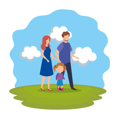 parents couple with daughter in the park vector illustration design Stock Vector - 112240727