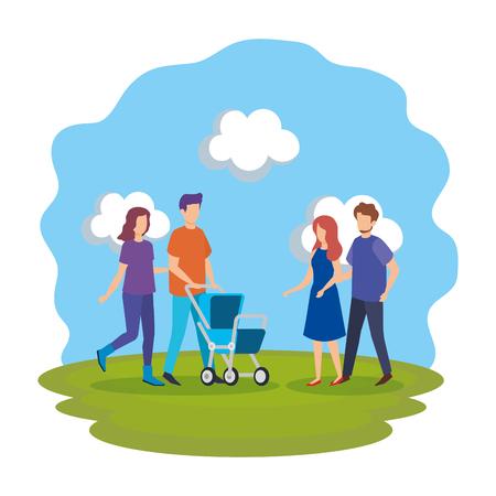 Los padres con carro bebé personajes, diseño de ilustraciones vectoriales