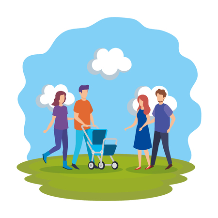 parents with cart baby characters vector illustration design Illustration