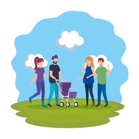 parents with cart baby characters vector illustration design