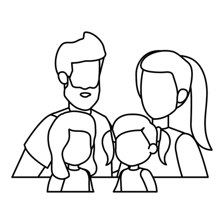 parents couple with daughters characters vector illustration design Illustration