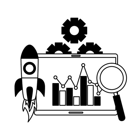 mobile analysis rocket chart search engine optimization vector illustration