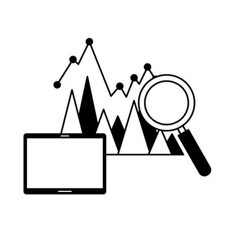 mobile analysis statistics chart search engine optimization vector illustration