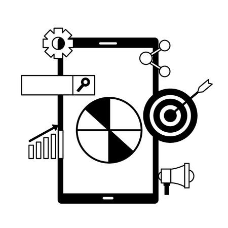 mobile target marketing share chart search engine optimization vector illustration