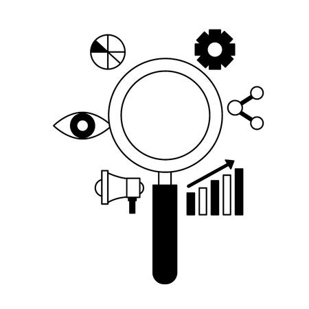 magnifying glass marketing share chart search engine optimization vector illustration Illustration