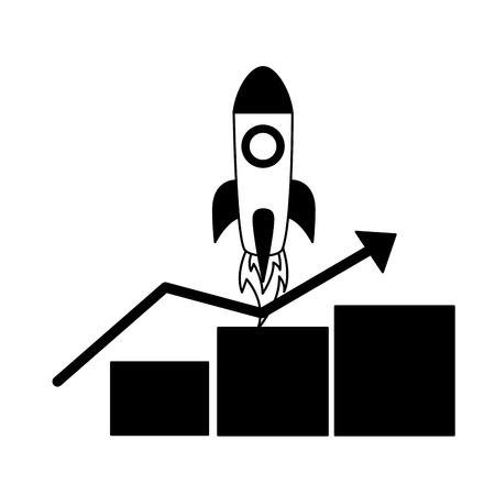 rocket statistics chart search engine optimization vector illustration