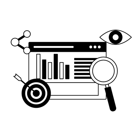 Cible de site Web loupe optimisation des moteurs de recherche illustration vectorielle Vecteurs