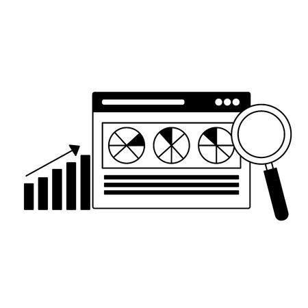 website analysis diagram search engine optimization vector illustration