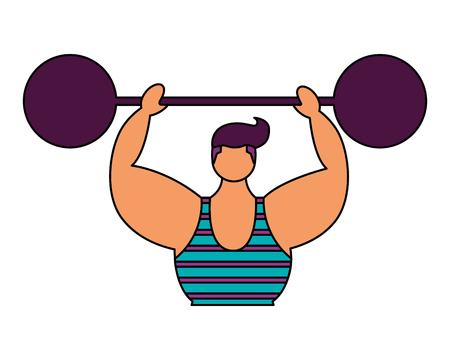 strong man with barbell circus fun fair vector illustration Ilustración de vector