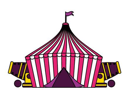 Carpa y cañones circo feria de diversión ilustración vectorial