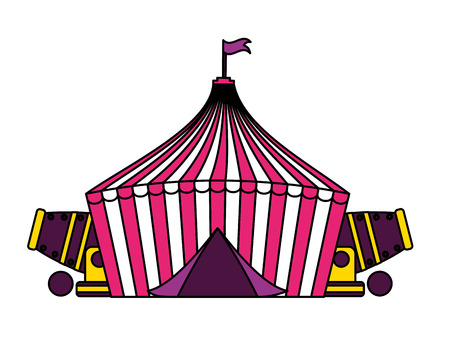 tent and cannons circus fun fair vector illustration 스톡 콘텐츠 - 127601107