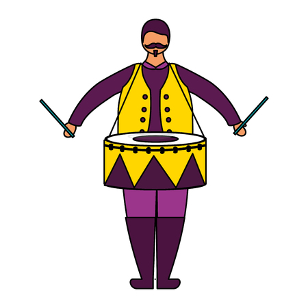 man character with drum circus fun fair vector illustration