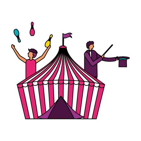 juggler and magician tent circus fun fair vector illustration Stock Illustratie