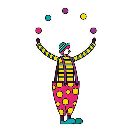 Payaso malabares con bolas circo feria de diversión ilustración vectorial