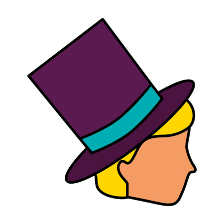 profile man wearing top hat vector illustration