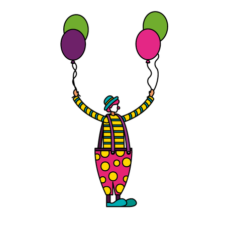 clown holding balloons circus fun fair vector illustration