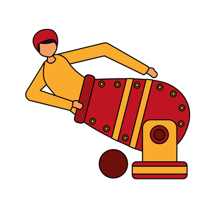 cannonball man character circus fun fair vector illustration