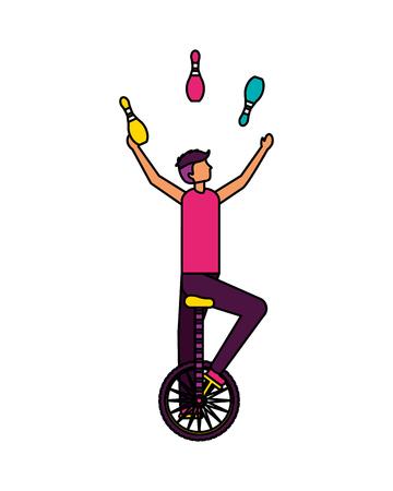 akrobat mann reiten einrad zirkus jahrmarkt vektorillustration