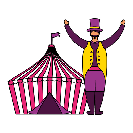 host man and tent circus fun fair vector illustration