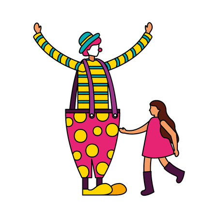 clown and little girl circus fun fair vector illustration