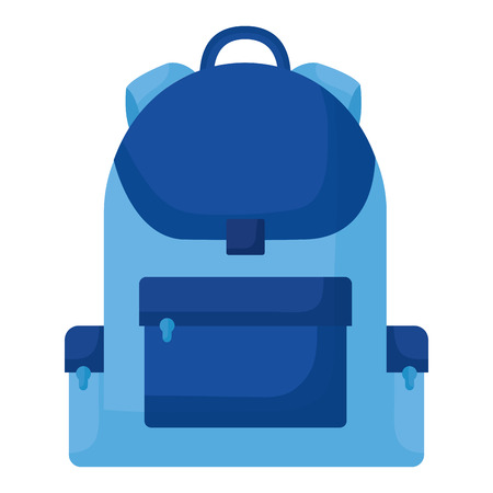 blue backpack on white background vector illustration
