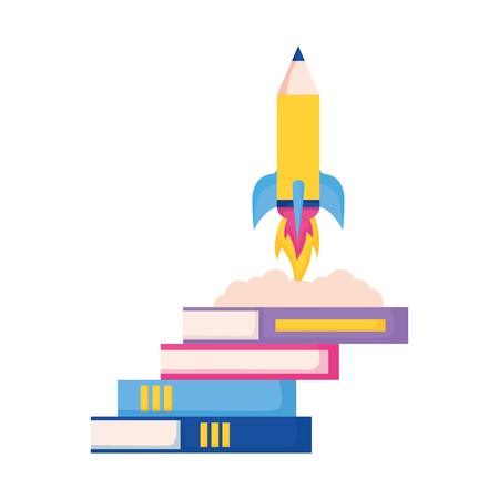rocket launching books education school vector illustration