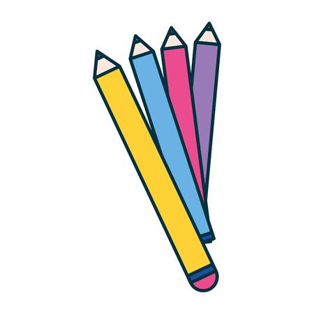 pencils color education school white background vector illustration