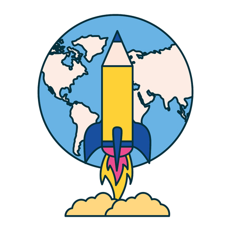 rocket launching world education school vector illustration