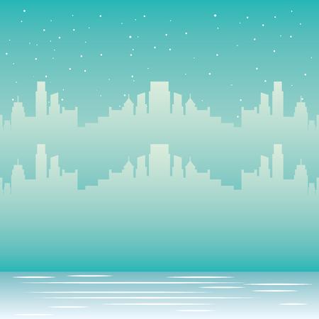 skyline city urban winter snow vector illustration Ilustração