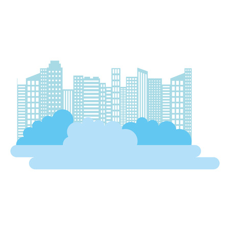 city buildings skyscraper bushes silhouette vector illustration