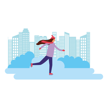 woman skating on ice in the city vector illustration