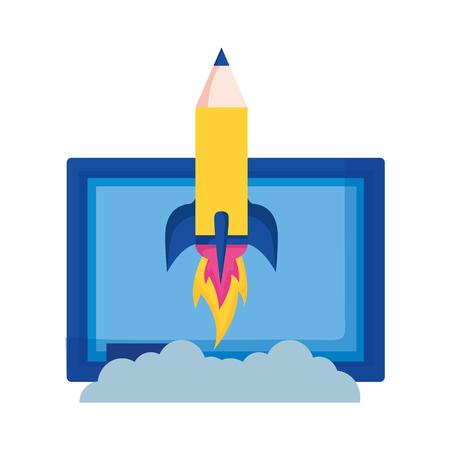 chalkboard and rocket education school vector illustration Ilustração