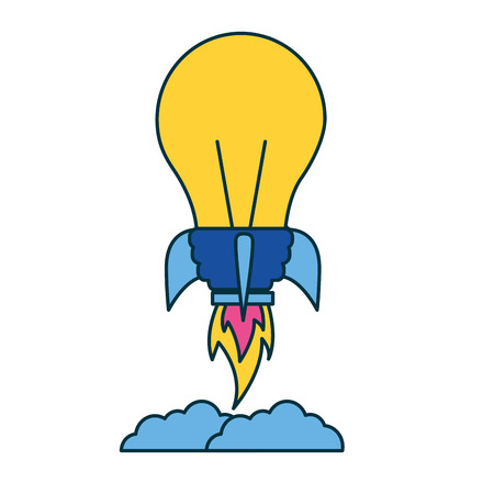 bulb creativity rocket education school vector illustration