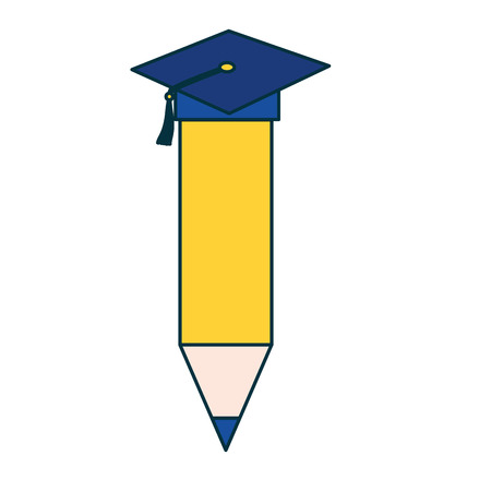 pencil with graduation hat education school vector illustration Çizim