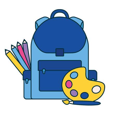 backpack palette color pencil education school vector illustration