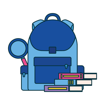 backpack books and magnifying glass education school vector illustration Stock Illustratie