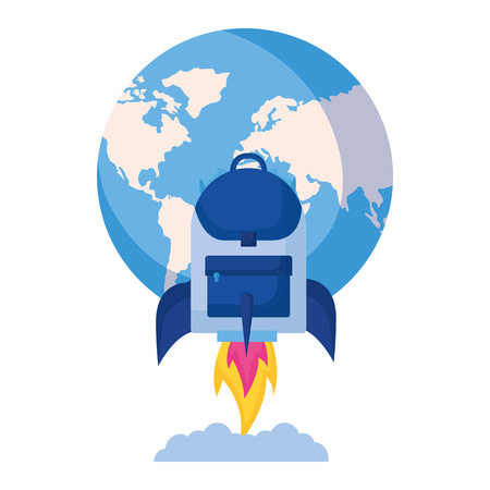 world rocket backpack education school vector illustration Illusztráció