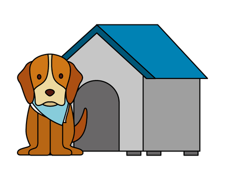 cute dog pet and house vector illustration Illustration