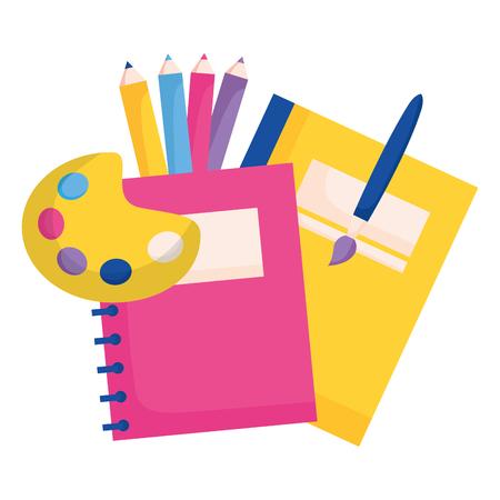 notebook palette color brush education school vector illustration Illustration