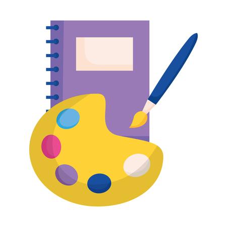 notebook palet kleur borstel onderwijs school vectorillustratie