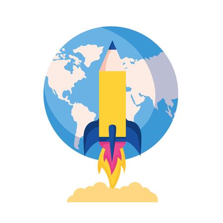 rocket launching world education school vector illustration
